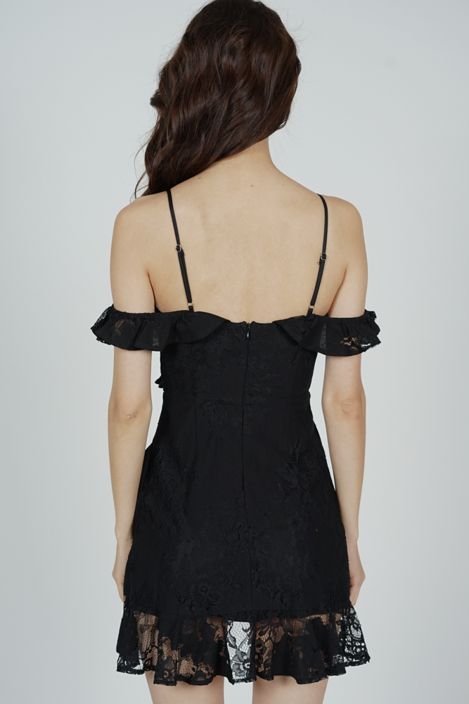 Danika Ruffled Dress in Black - Arriving Soon