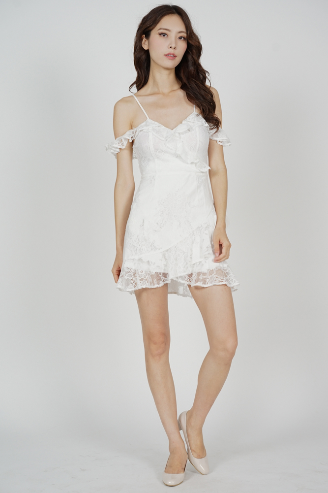 Danika Ruffled Dress in White - Arriving Soon
