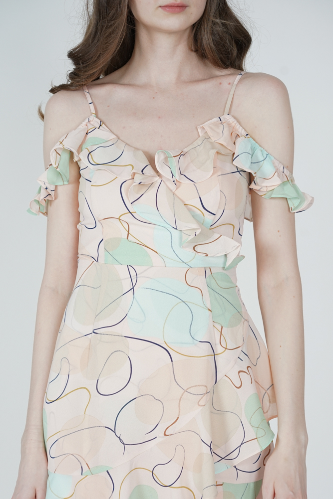 Brenie Ruffled Dress in Cream Abstract - Arriving Soon