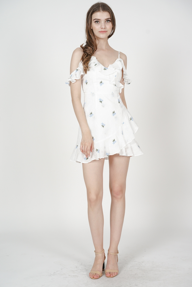 Meredith Ruffled Dress in White Floral Embroidery - Arriving Soon
