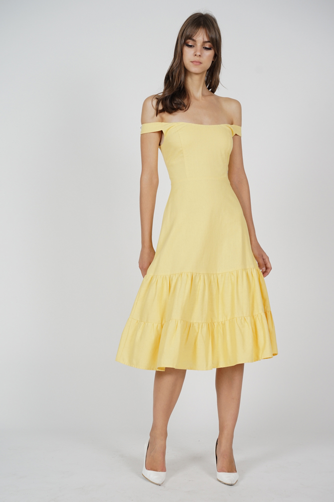 Dorcas Ruffled-Hem Dress in Mustard