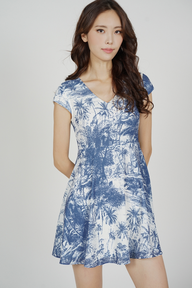 Miza Flared Dress in Blue White