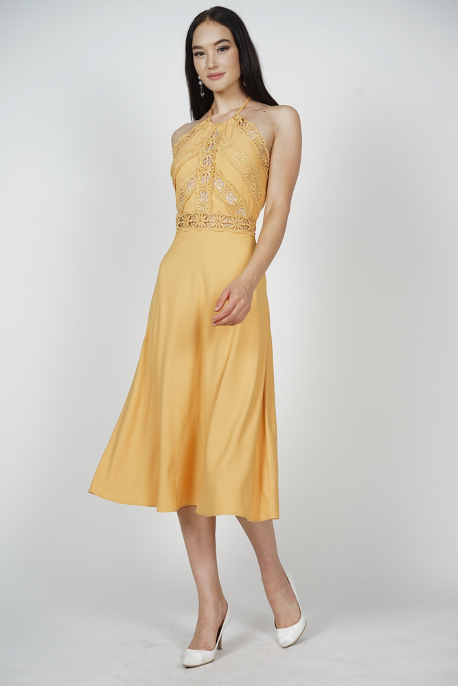 Varya Drawstring Halter Dress in Mustard