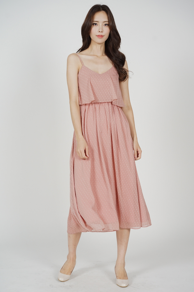 Jordea Overlay Gathered Dress in Pink