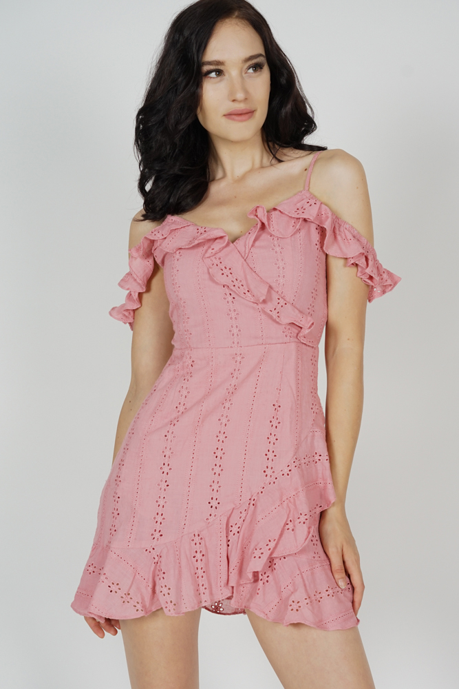 Jina Ruffled Dress in Pink