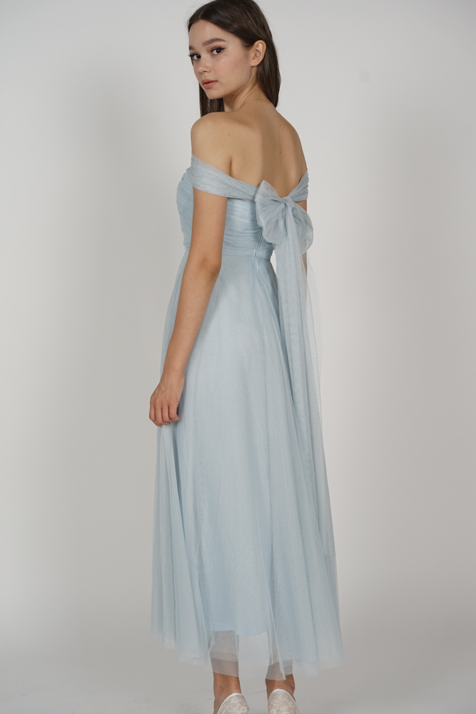 Kelicia Convertible Tulle Dress in Ash Blue