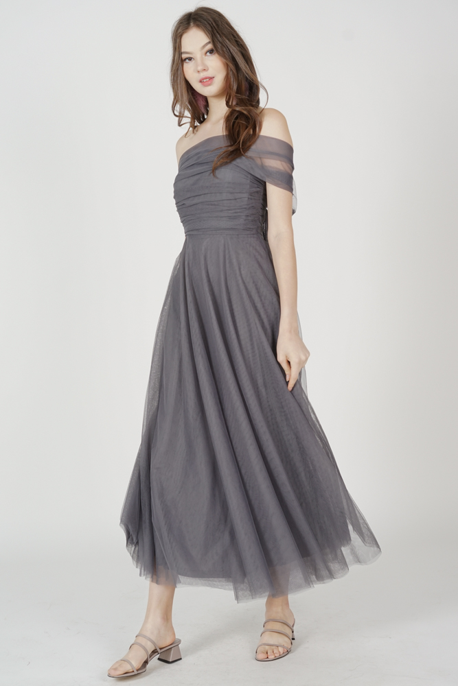 Kelicia Convertible Tulle Dress in Dark Grey - Arriving Soon