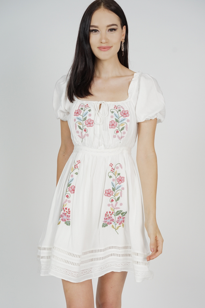 Tallius Embroidered Dress in White - Arriving Soon