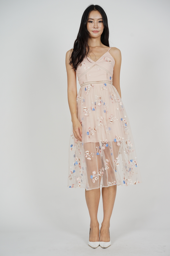 Gracelyn Tulle Dress in Pink Floral - Arriving Soon