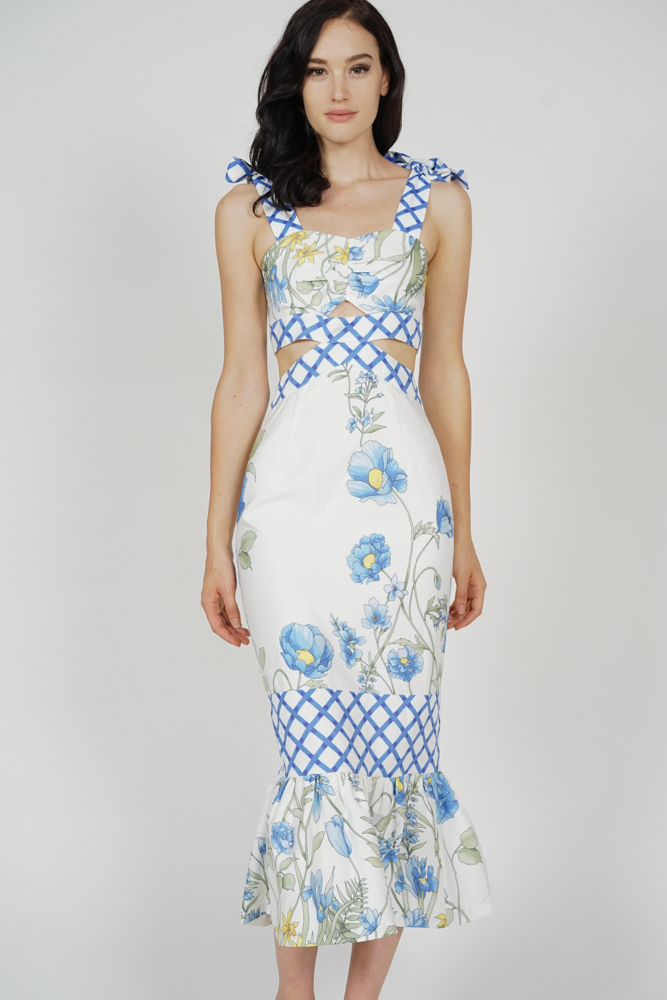 Dameira Cutout Dress in Blue Checks Floral - Arriving Soon