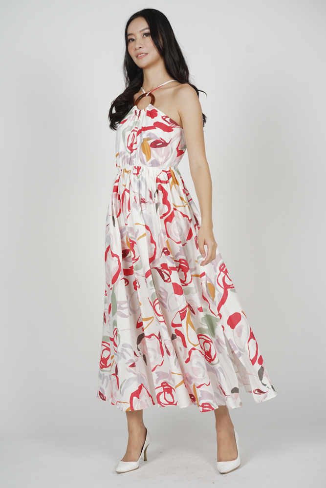 Dayton Gathered Dress in White Red