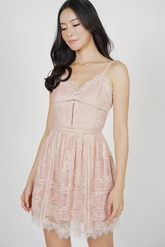Betty Lace Dress in Pink