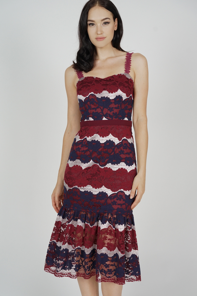 Youina Lace Dress in Oxblood