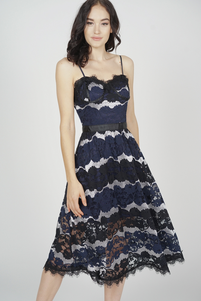 Veron Lace Dress in Midnight - Arriving Soon