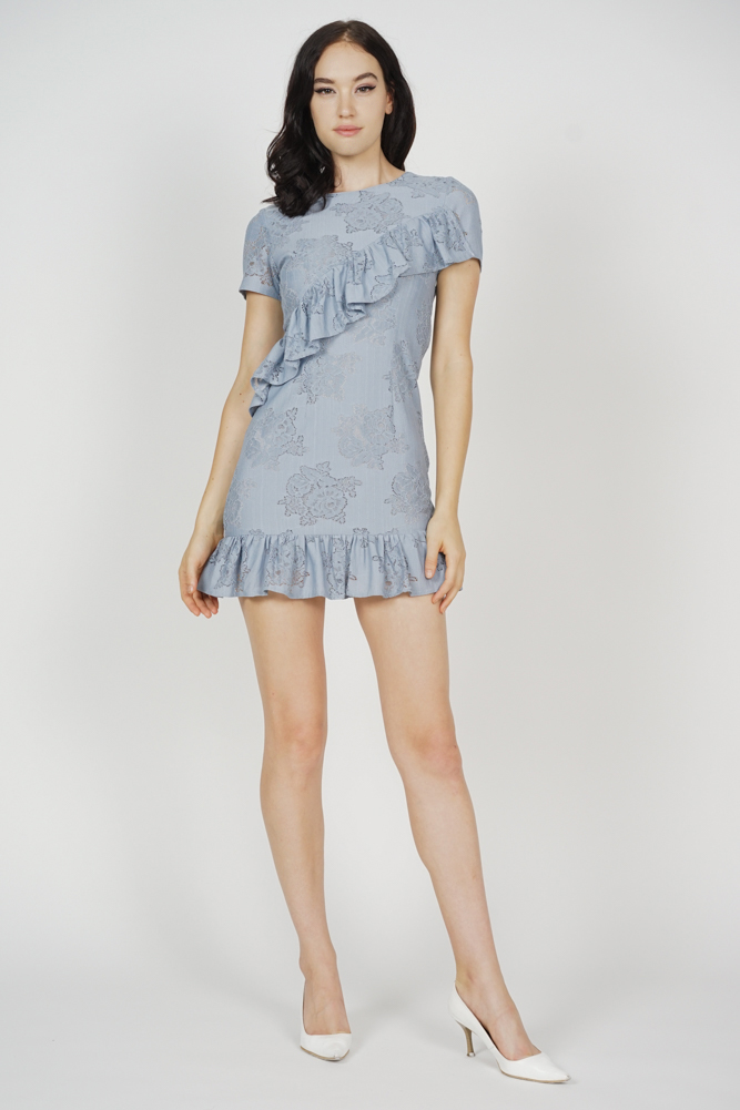Kellyn Ruffled Lace Dress in Ash Blue - Arriving Soon