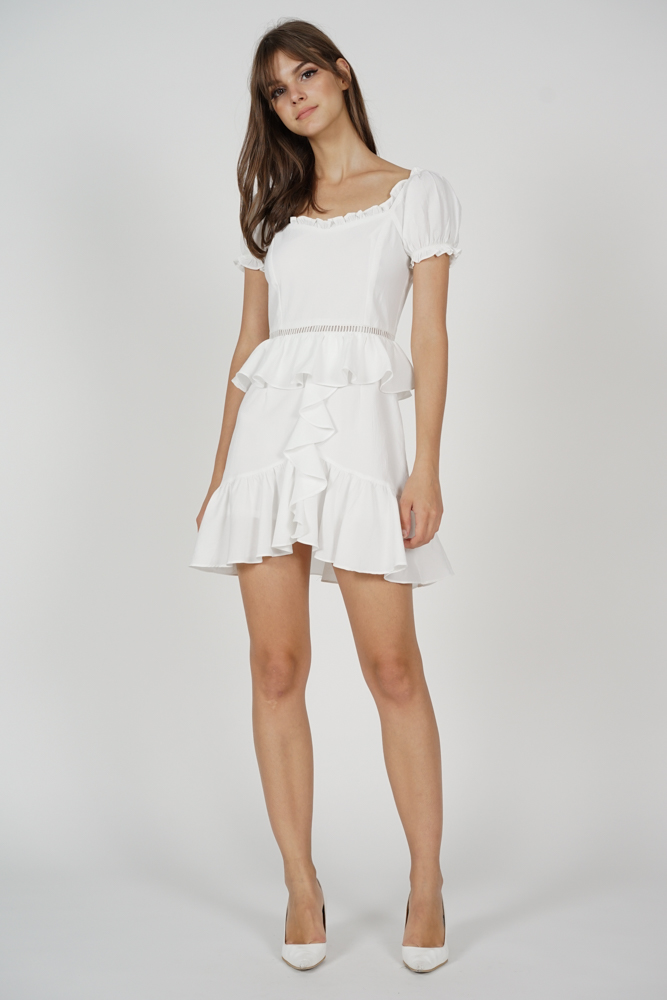 Kellie Ruffled Dress in White