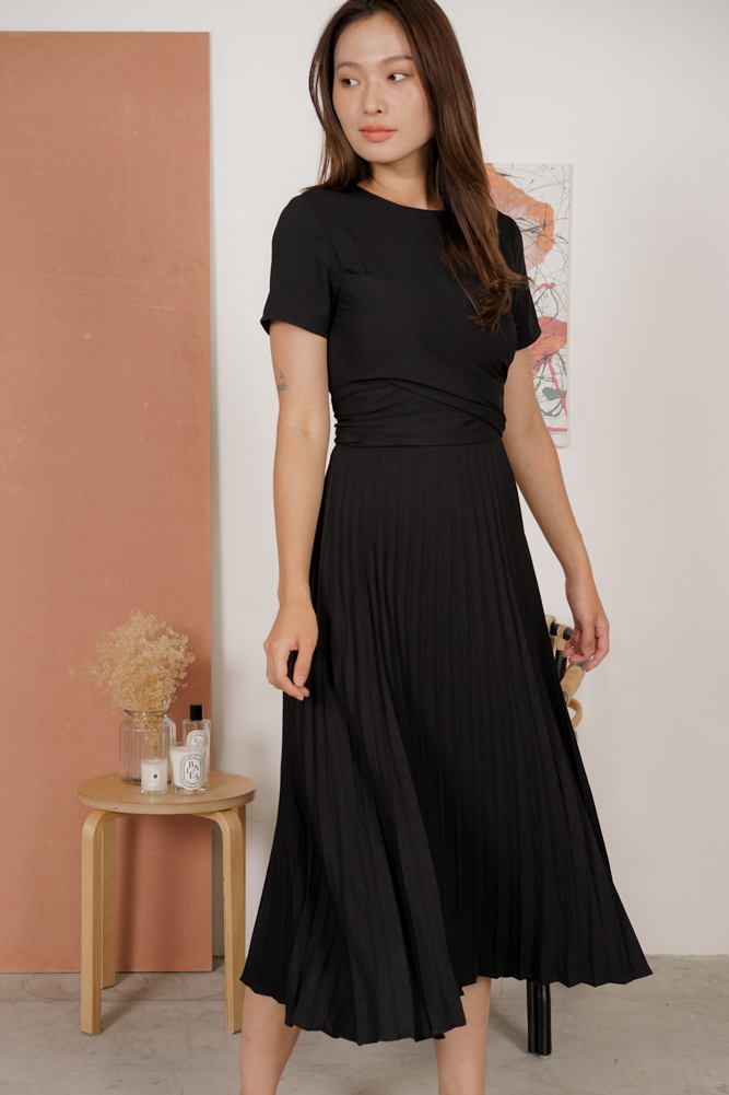Berni Criss Cross Pleated Dress in Black - Arriving Soon