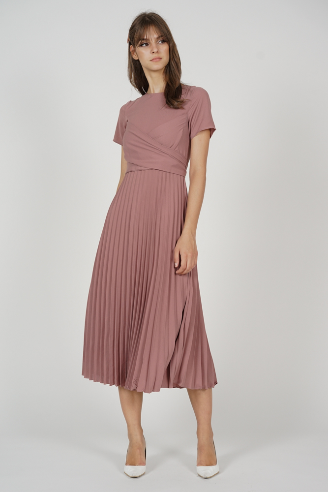 Berni Criss Cross Pleated Dress in Mauve - Arriving Soon