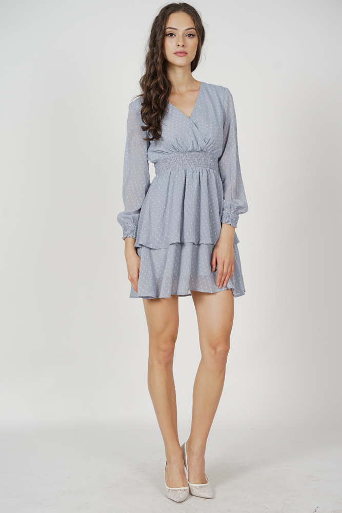 Tasha Sleeved Dress in Ash Blue