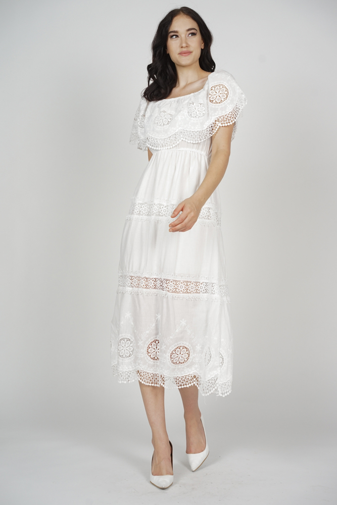 Alcie Crochet Dress in White - Arriving Soon
