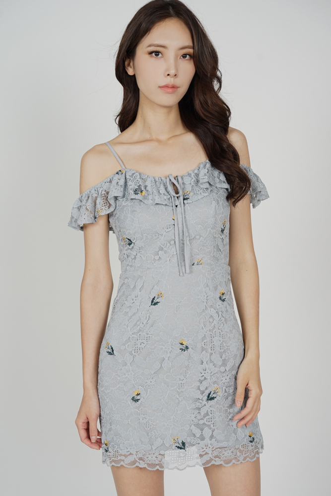 Renae Lace Dress in Ash Blue