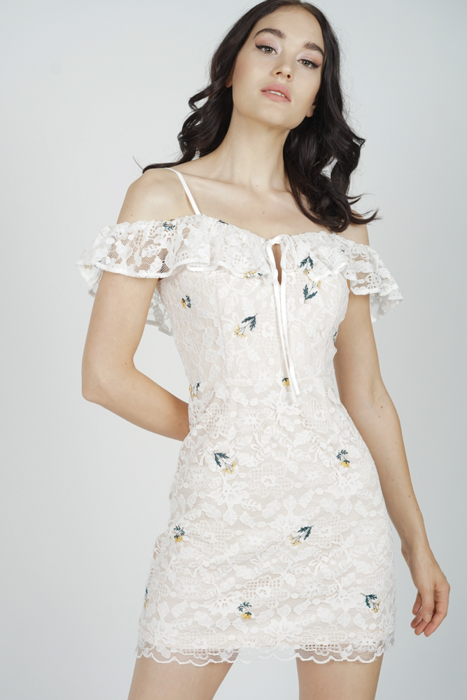 Renae Lace Dress in White Floral