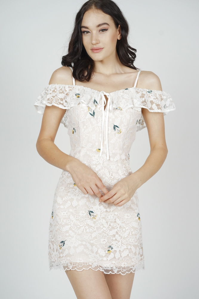 Renae Lace Dress in White Floral - Arriving Soon