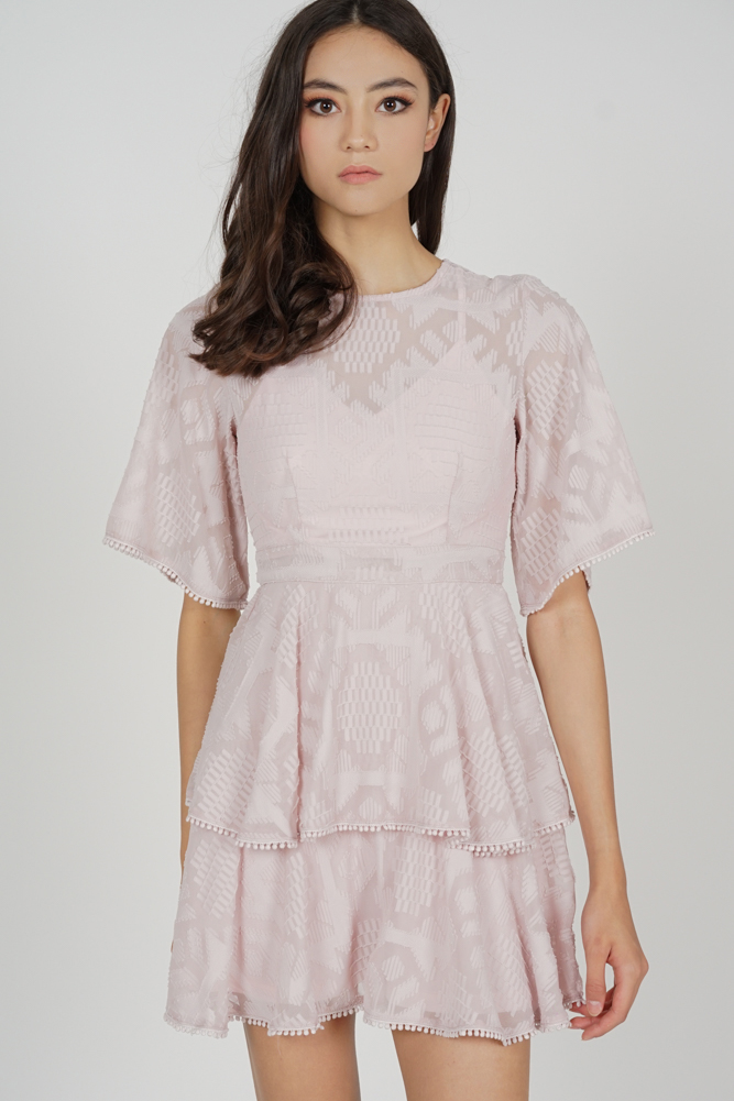 Perie Sheer Tiered Dress in Dusty Pink - Arriving Soon