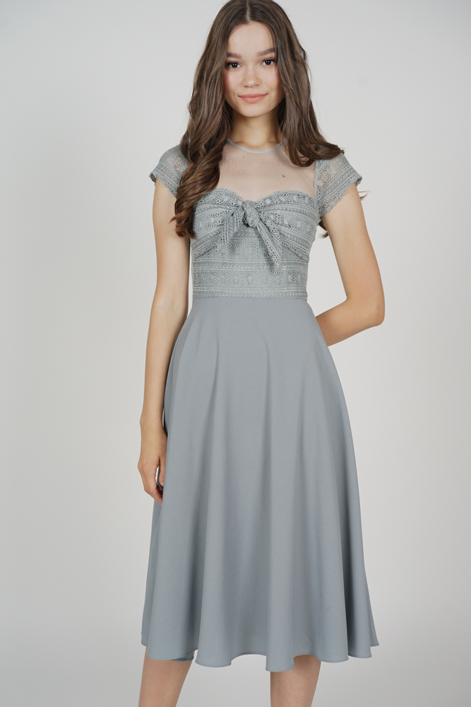 Wendie Front Tie Dress in Ash Blue