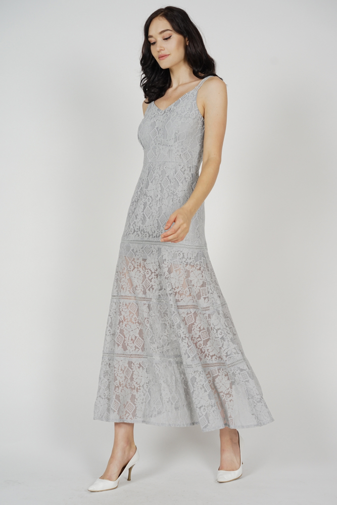 44bbcc117c7c Elisa Lace Dress in Grey - Arriving Soon