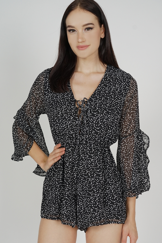 Tazla Ruffled-Sleeve Romper in Black Polka Dots - Online Exclusive
