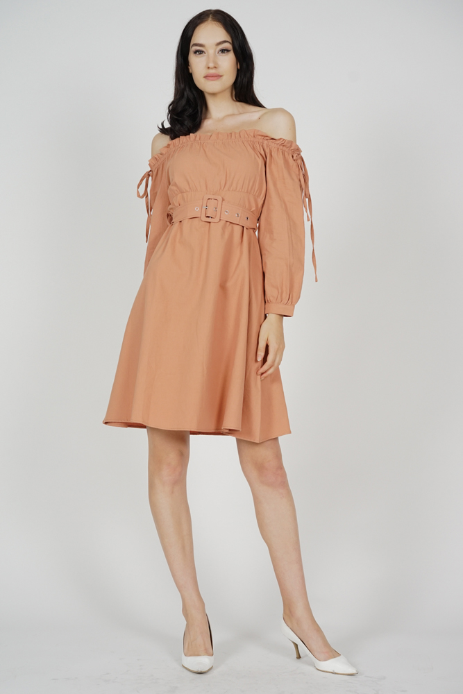 Ninah Gathered Dress in Brown - Online Exclusive