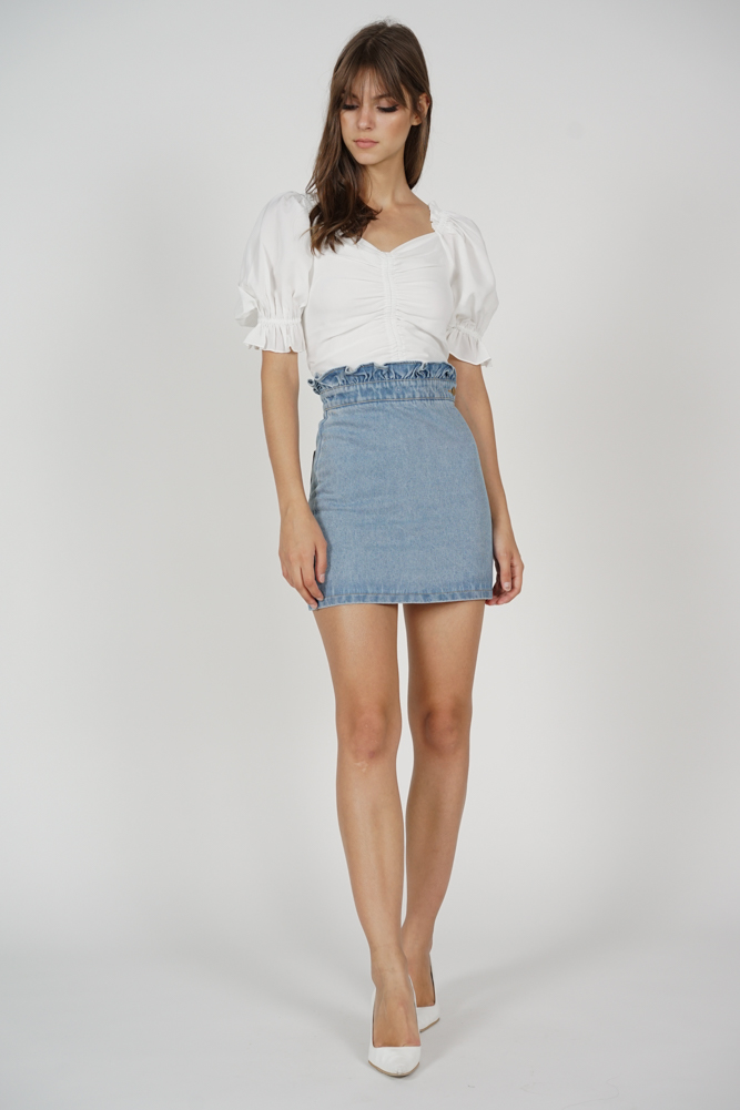 Vika Paper Bag Denim Skirt in Blue - Arriving Soon