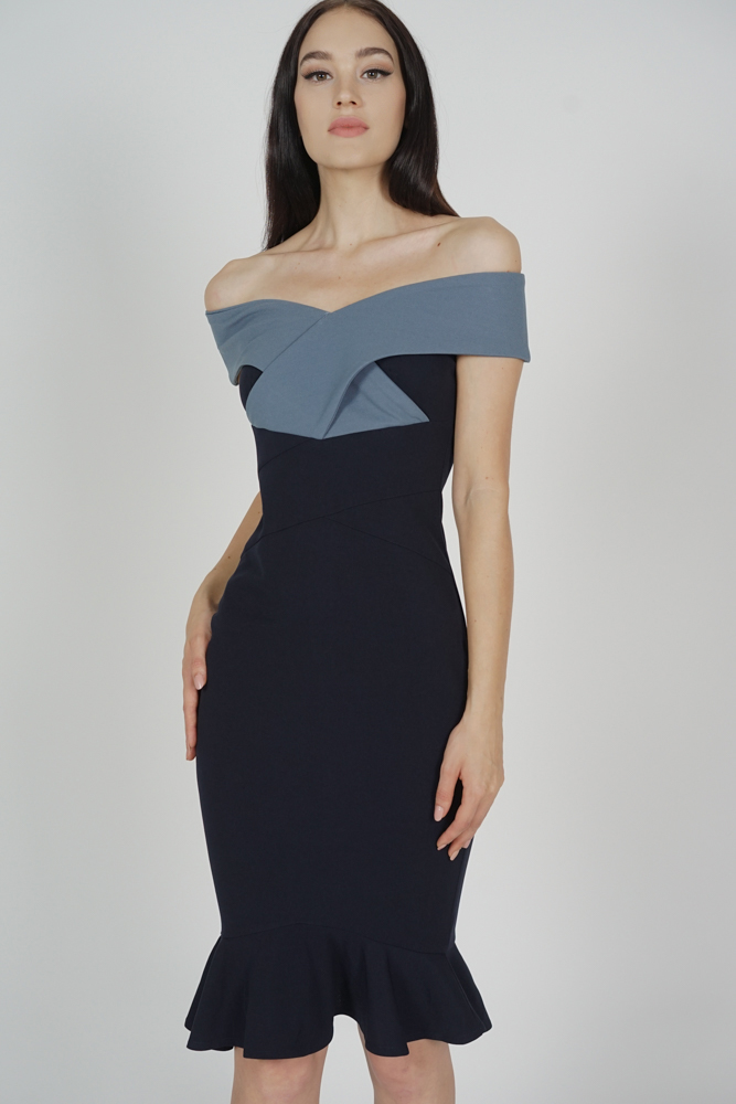 Talisa Criss Cross Dress in Blue Midnight