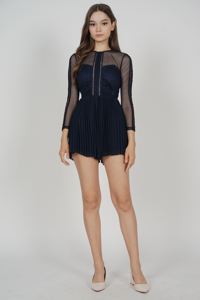 Melorie Pleated Lace Romper in Midnight - Arriving Soon