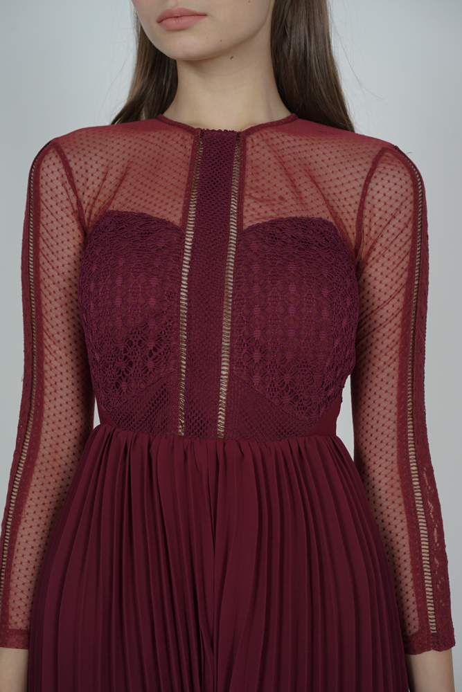 Melorie Pleated Lace Romper in Oxblood