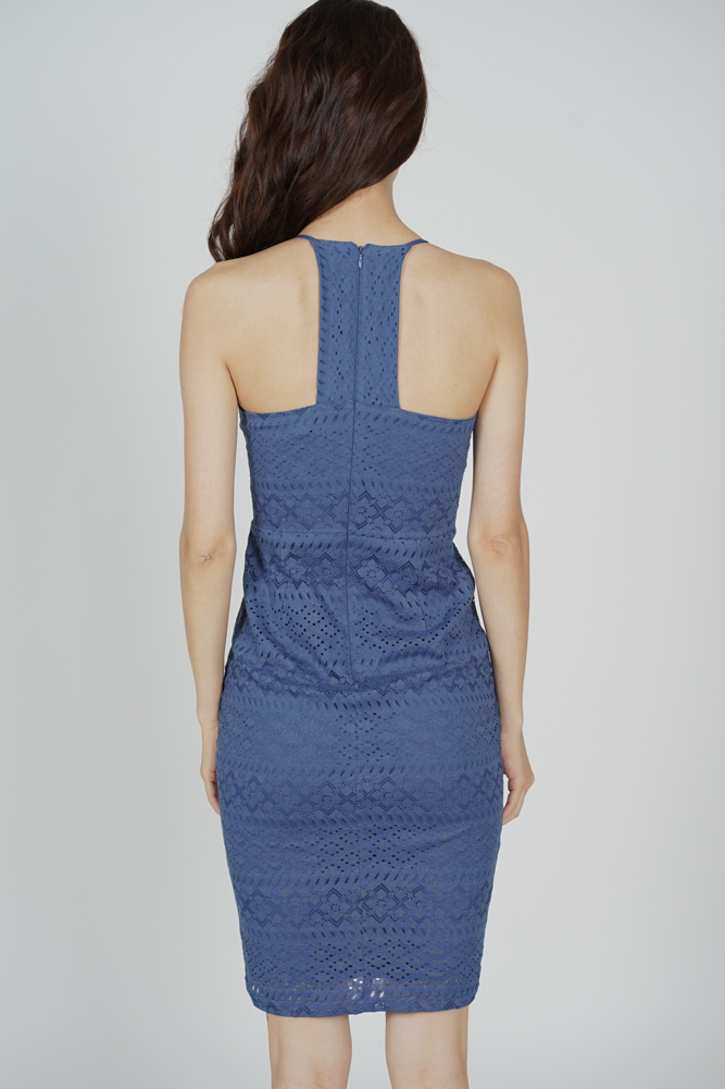 Yorina Halter Lace Dress in Ash Blue - Arriving Soon