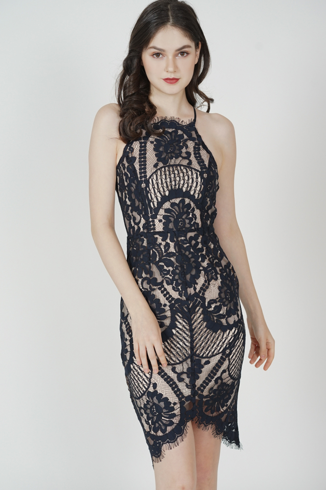 Yorina Halter Lace Dress in Midnight - Arriving Soon