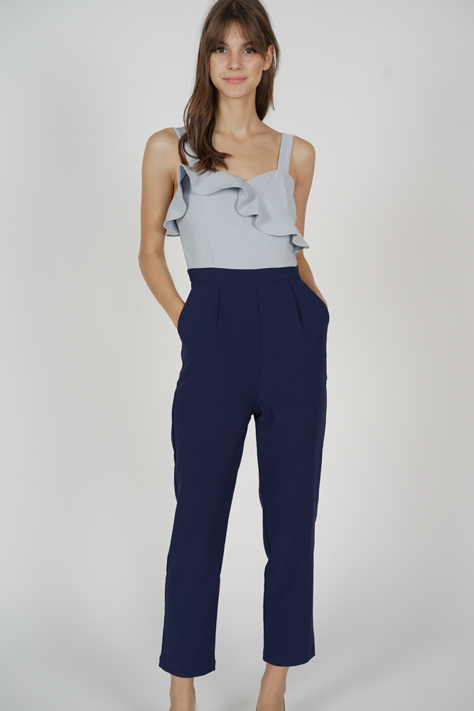 Falria Ruffled Contrast Jumpsuit in Grey Midnight