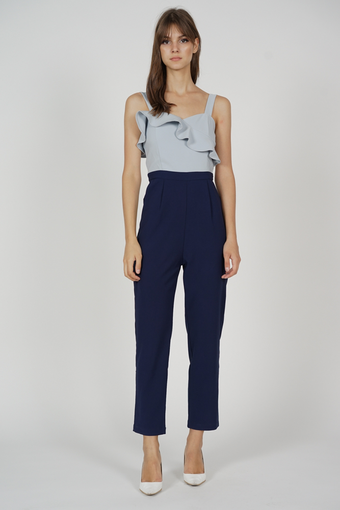 Falria Ruffled Contrast Jumpsuit in Grey Midnight - Arriving Soon