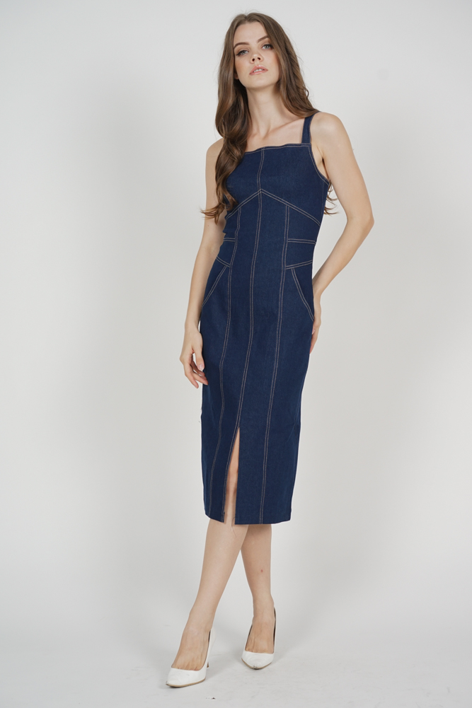 Colin Stitch Denim Dress in Dark Blue