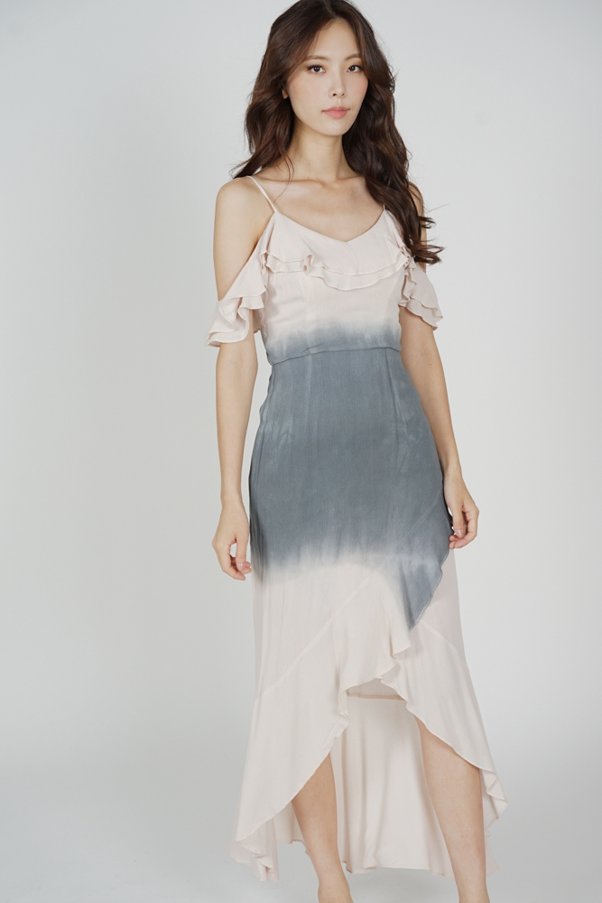 Ousna Ruffled Dress in Grey Pink - Arriving Soon