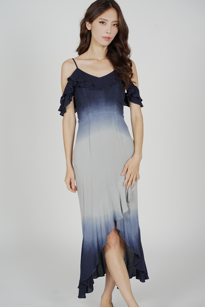 Ousna Ruffled Dress in Midnight Grey - Arriving Soon
