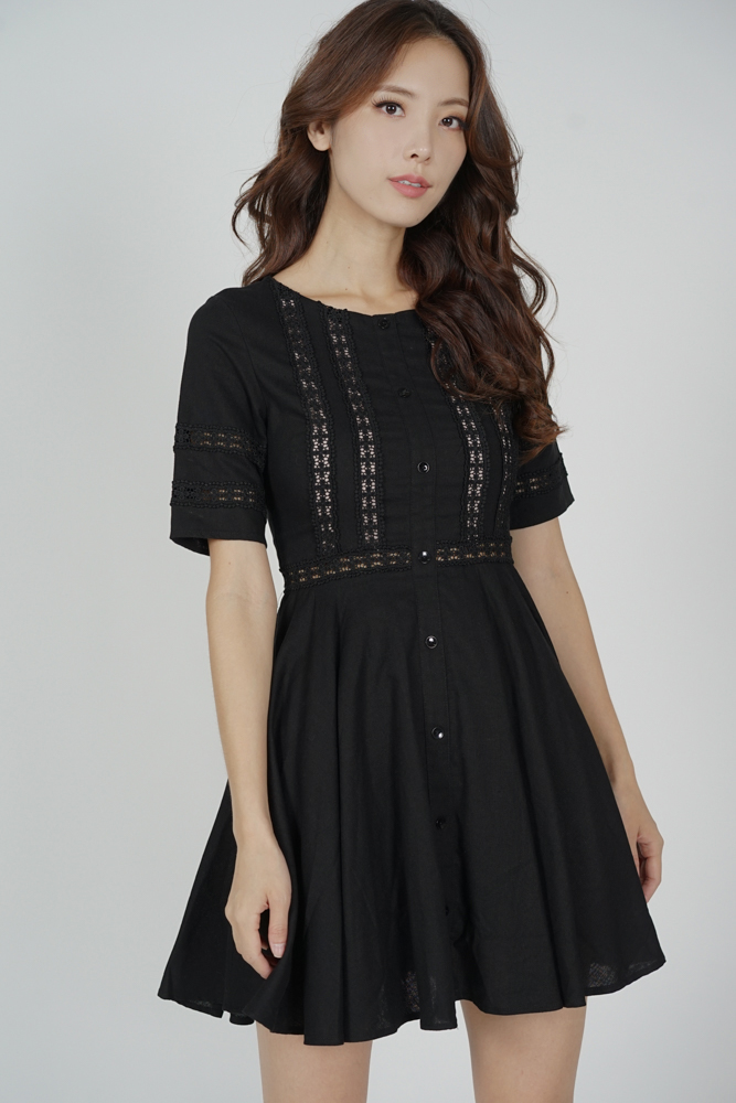 Taylor Flared Dress in Black