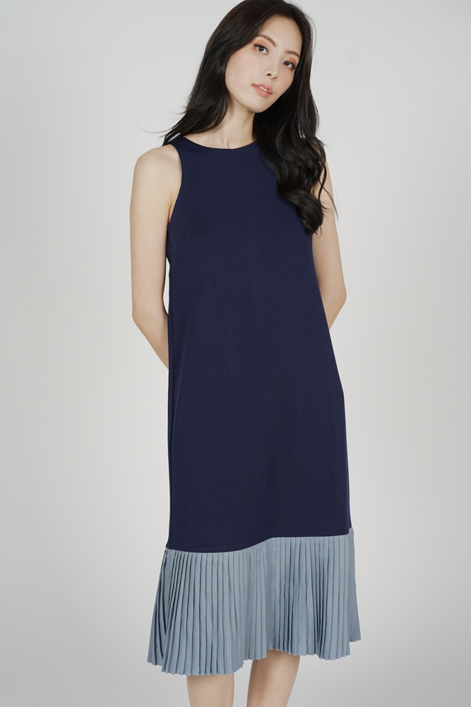 Chiara Pleated-Hem Dress in Navy