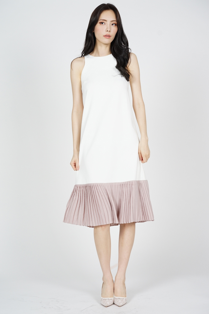 Chiara Pleated-Hem Dress in White - Arriving Soon