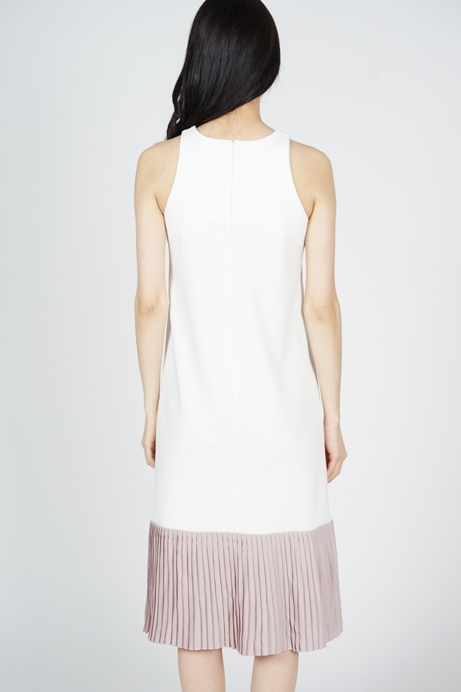 Chiara Pleated-Hem Dress in White