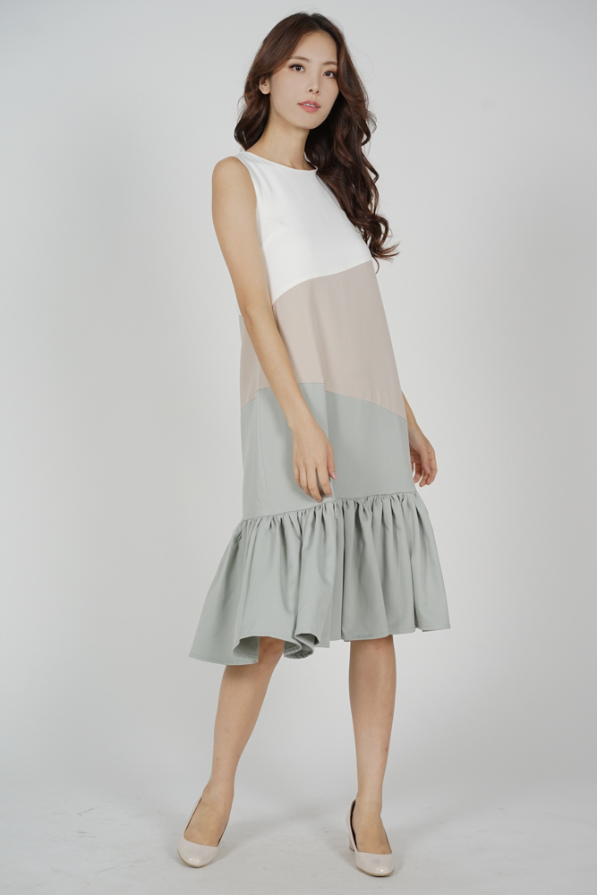 Reggie Color-Block Dress in White - Arriving Soon