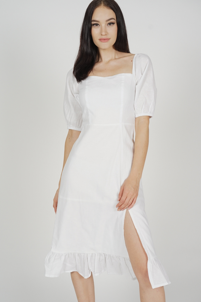 Keforie Slit Dress in White - Arriving Soon