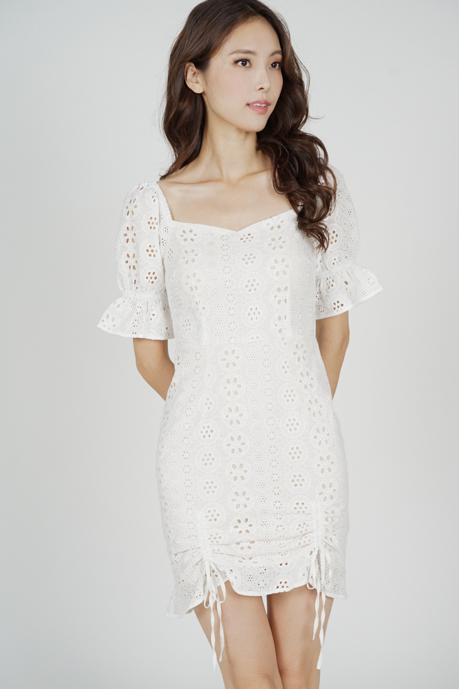 Lousa Eyelet Dress in White - Arriving Soon